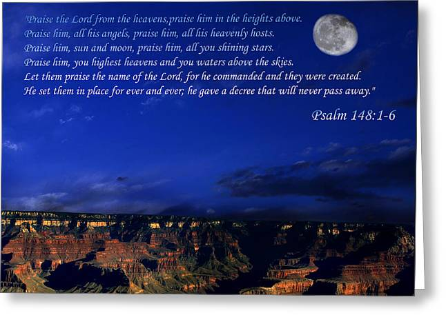 Moon Over Canyon With Psalm Greeting Card