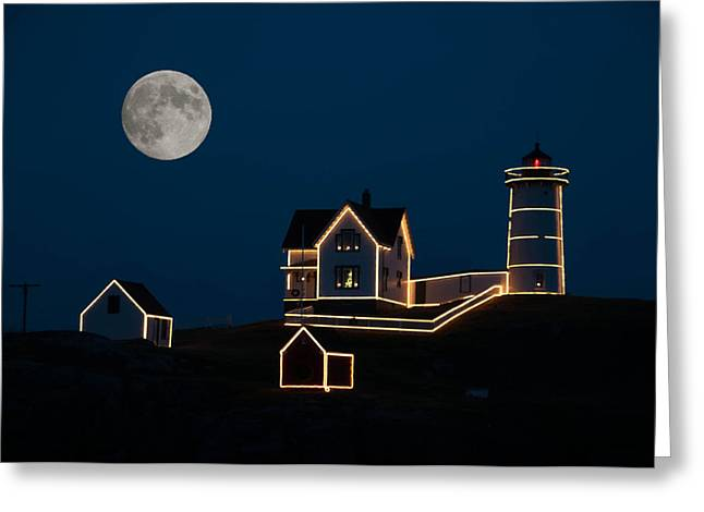 Moon Over Cape Neddick Greeting Card by Guy Whiteley
