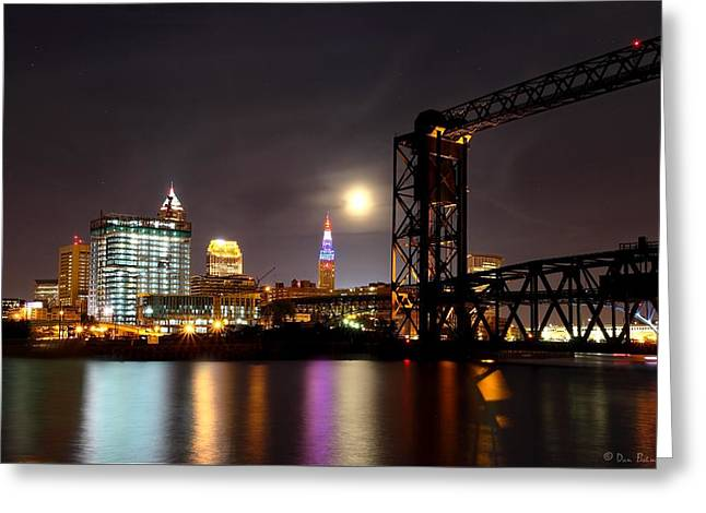 Moon Over Cleveland Greeting Card by Daniel Behm