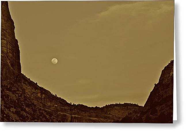Moon Over Crag Utah Greeting Card