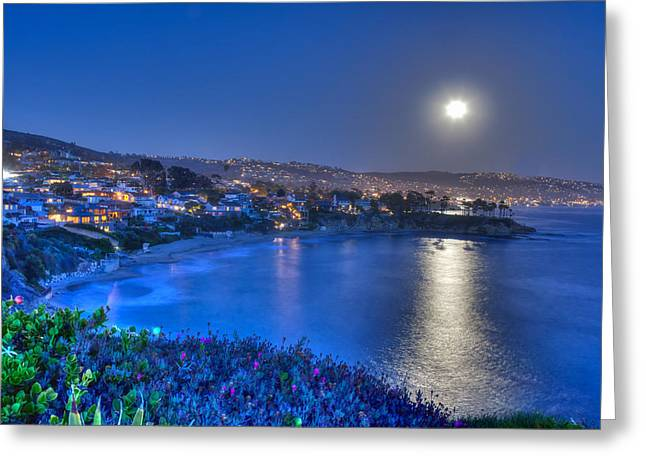 Moon Over Crescent Bay Beach Greeting Card by Cliff Wassmann