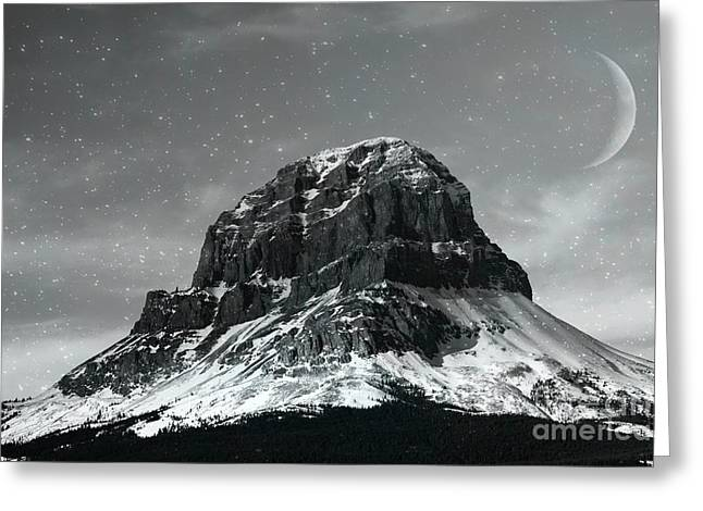 Moon Over Crowsnest Greeting Card