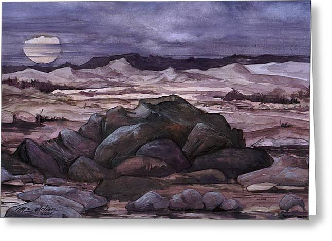 Greeting Card featuring the painting Moon Over Desert by Mikhail Savchenko