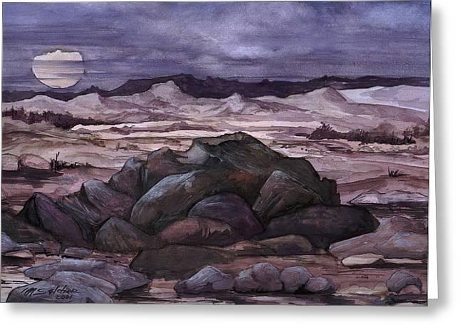 Moon Over Desert Greeting Card by Mikhail Savchenko