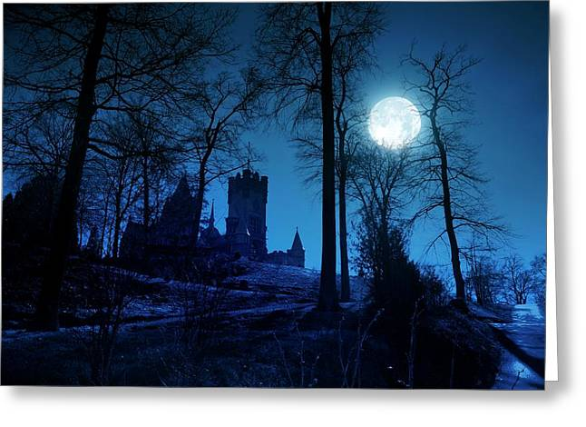 Moon Over Drachenfels Castle Greeting Card