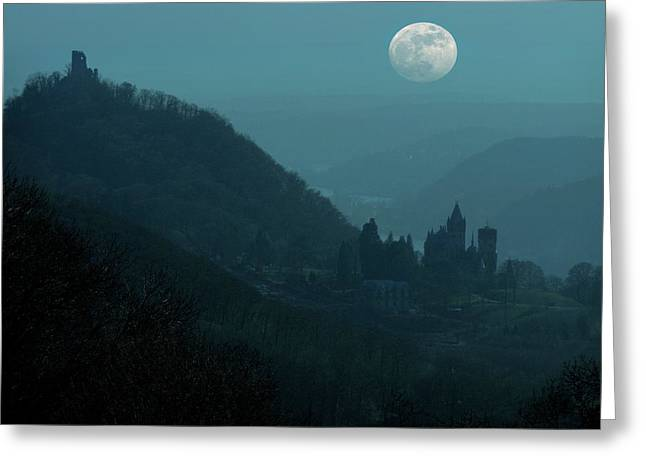Moon Over Drachenfels Castles Greeting Card