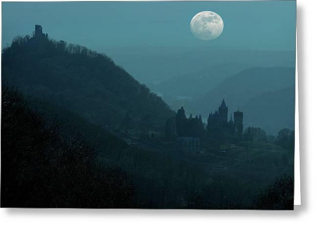 Moon Over Drachenfels Castles Greeting Card by Detlev Van Ravenswaay