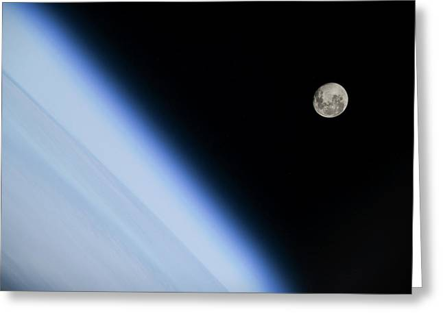 Moon Over Earth Greeting Card