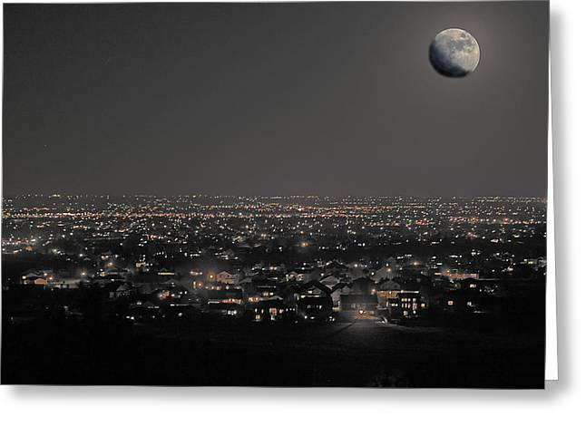 Moon Over Fort Collins Greeting Card by David Kehrli