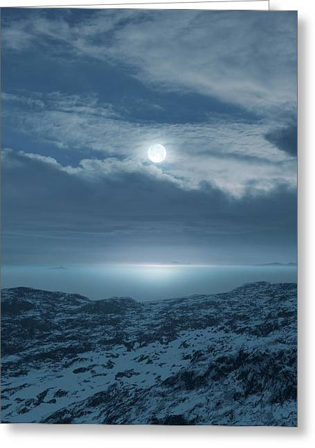 Moon Over Frozen Landscape Greeting Card