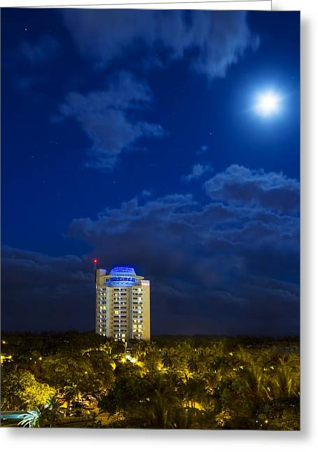 Moon Over Ft. Lauderdale Greeting Card by Mark Andrew Thomas