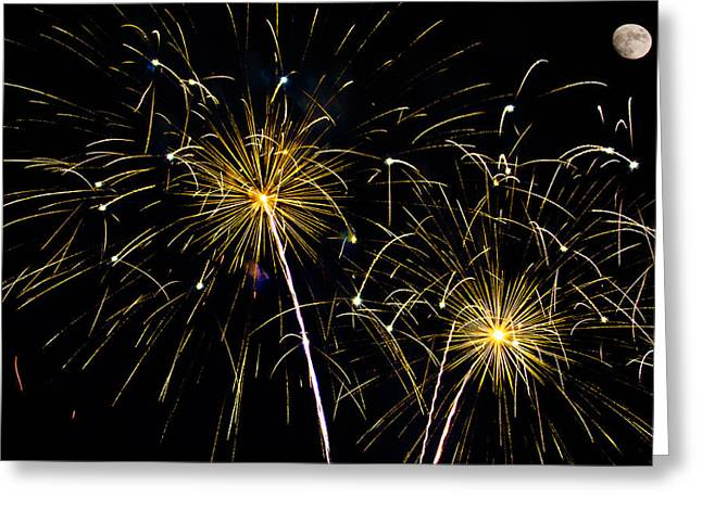 Moon Over Golden Starburst- July Fourth - Fireworks Greeting Card by Penny Lisowski