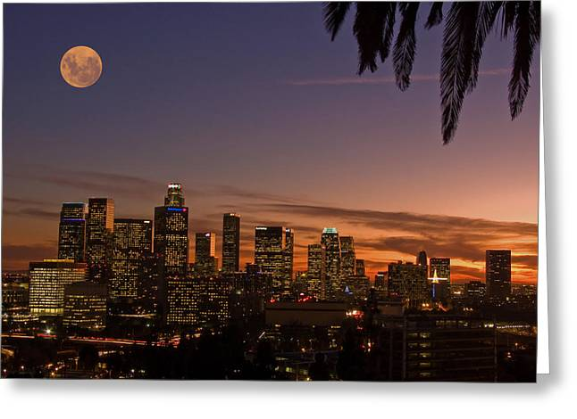 Moon Over L.a. Greeting Card