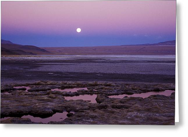 Greeting Card featuring the photograph Moon Over Laguna Colorada by Lana Enderle