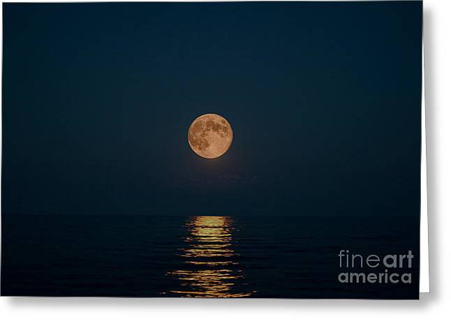 Moon Over Lake Of Shining Waters Greeting Card