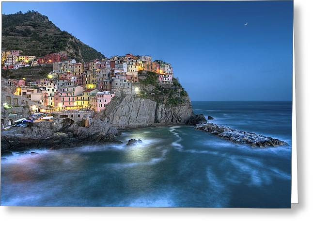 Moon Over Manarola - The Cinque Terre Greeting Card by Rob Greebon