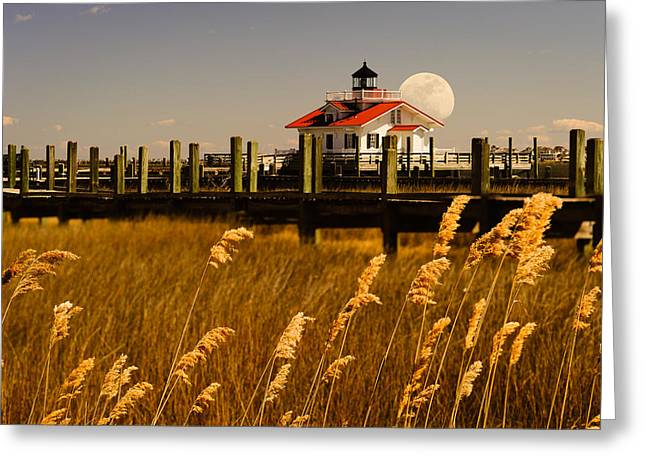 Moon Over Manteo Greeting Card