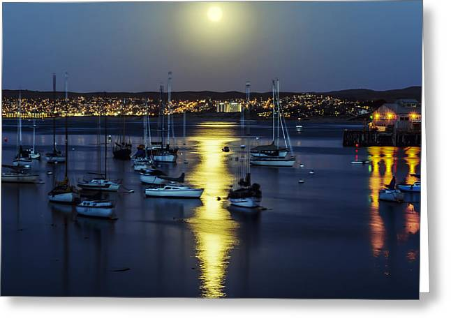 Moon Over Monterey Bay Greeting Card by Joseph S Giacalone