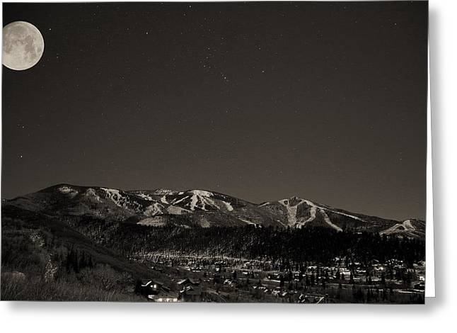 Moon Over Mt. Werner Greeting Card by Matt Helm