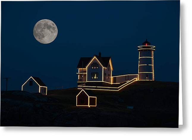 Moon Over Nubble Light Greeting Card by Guy Whiteley