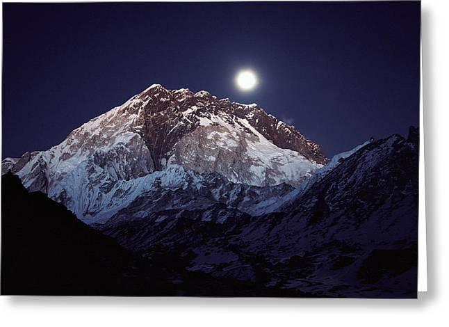 Moon Over Nuptse Nepal Greeting Card
