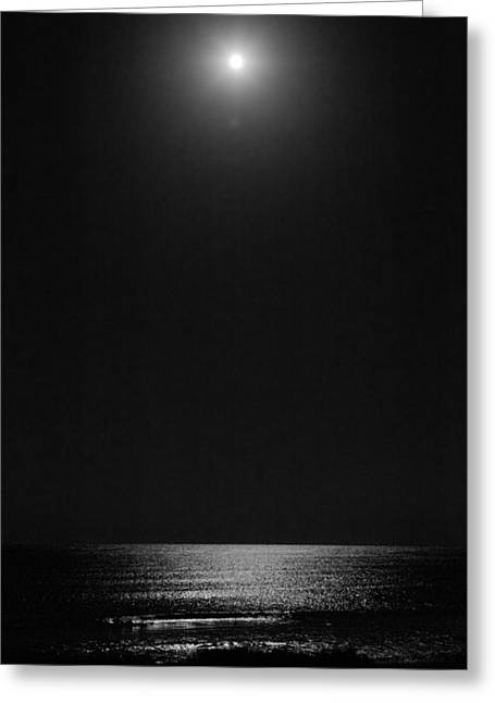 Moon Over Ocean Greeting Card
