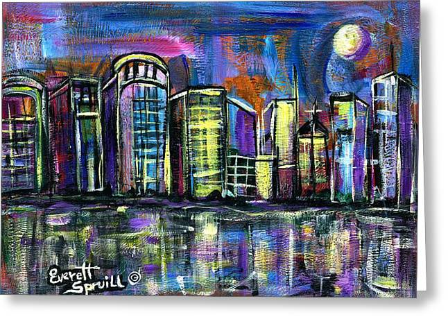 Moon Over Orlando Greeting Card by Everett Spruill