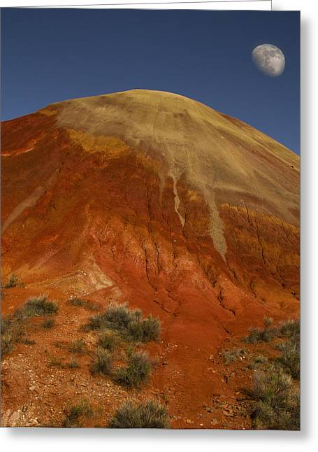 Moon Over Painted Hills Greeting Card by Jean Noren
