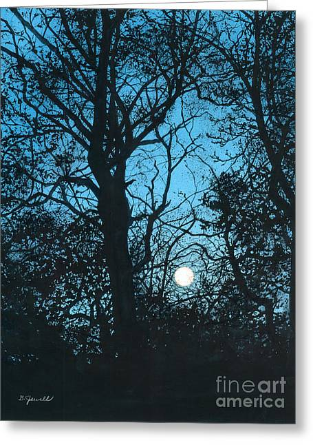 Moon Over Pittsburgh Greeting Card by Barbara Jewell