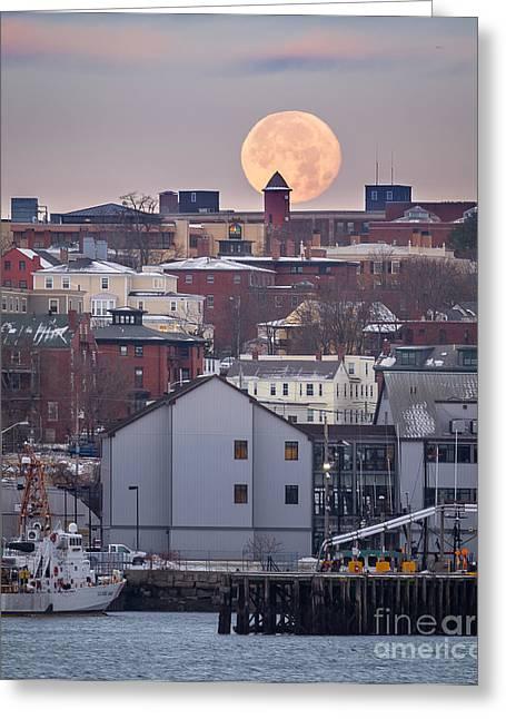 Moon Over Portland Greeting Card by Benjamin Williamson