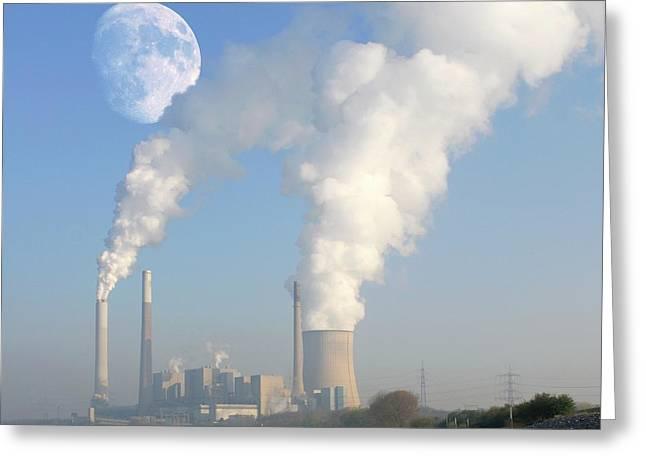 Moon Over Power Station Greeting Card by Detlev Van Ravenswaay