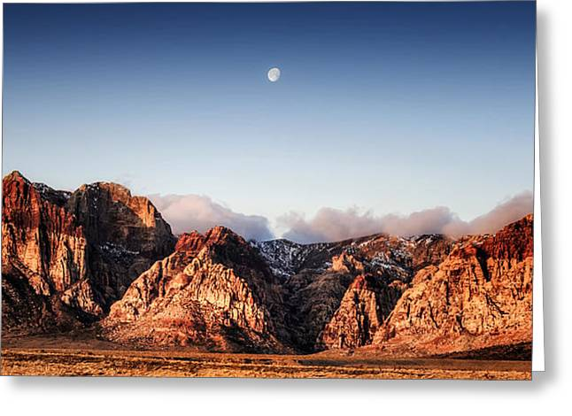 Moon Over Red Rock Canyon Greeting Card