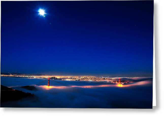 Moon Over San Francisco In Fog Greeting Card