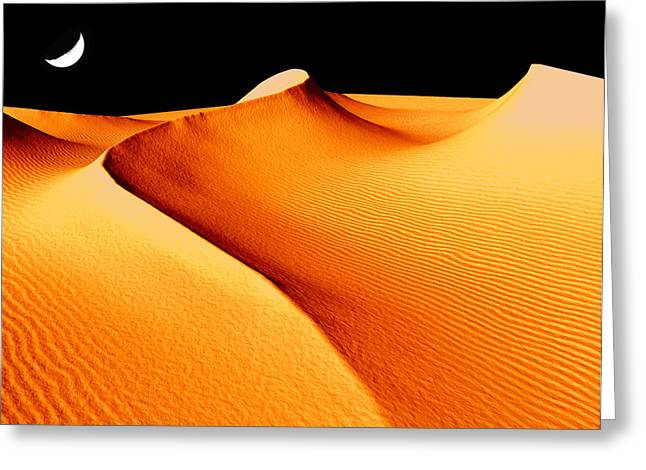 Moon Over Sand Dunes Greeting Card