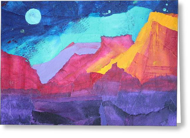 Moon Over Sedona Greeting Card by Nancy Jolley