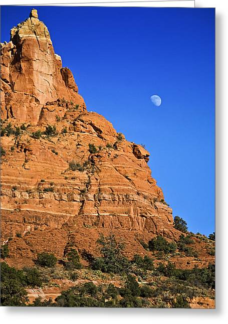 Moon Over Sedona Greeting Card