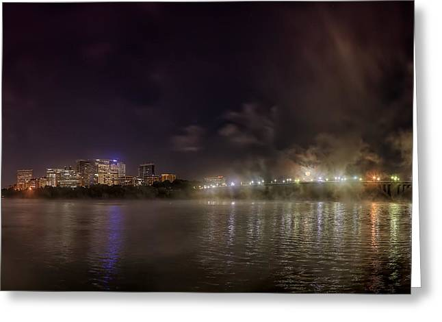 Moon Over The Bridge Greeting Card by Metro DC Photography