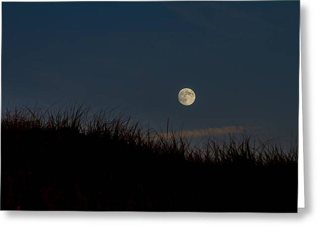 Moon Over The Dunes Greeting Card by Brian Caldwell