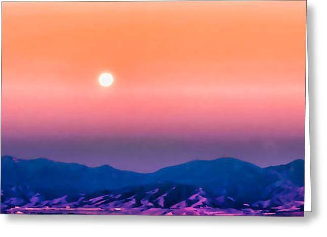 Moon Over The Oquirrh Mountains Greeting Card by Kayta Kobayashi