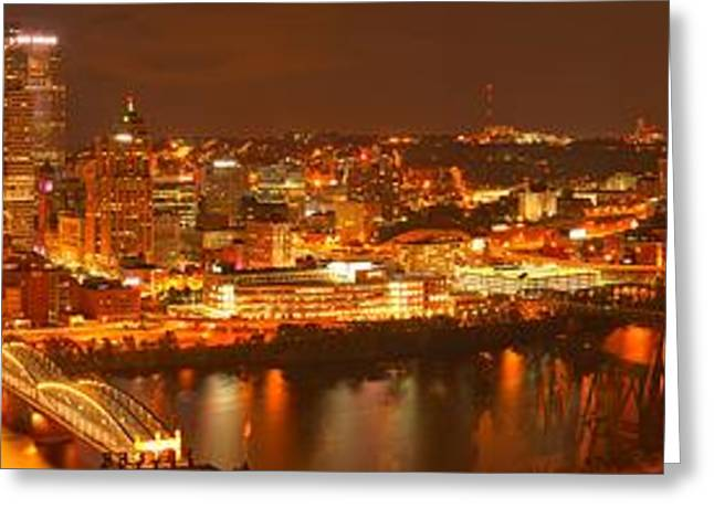 Moon Over The Pittsburgh Skyline Greeting Card by Adam Jewell