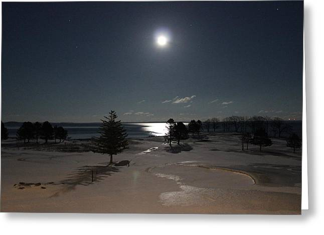Moon Over The Samoset Greeting Card