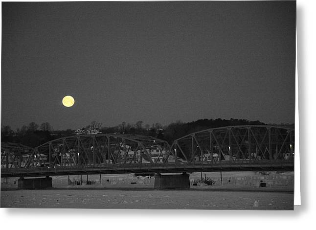 Moon Over The Steel Bridge Greeting Card
