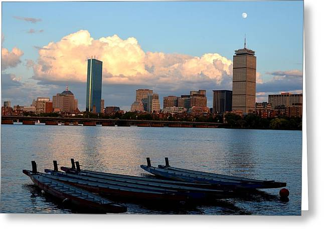 Moon Over The The Prudential On The Charles River Greeting Card