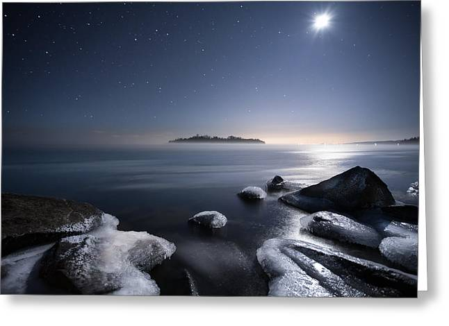 Moon Over Thunder Bay From Silver Harbour Greeting Card
