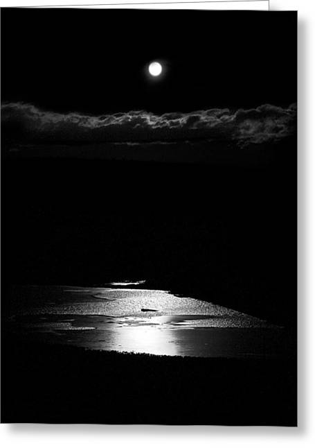 Moon Over Trout Creek Pond Greeting Card by Patrick Derickson