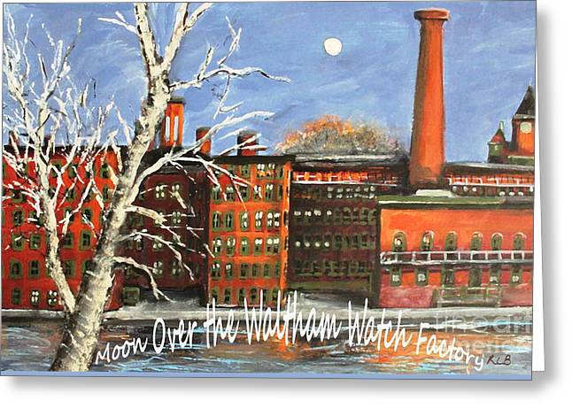 Moon Over Waltham Watch Greeting Card
