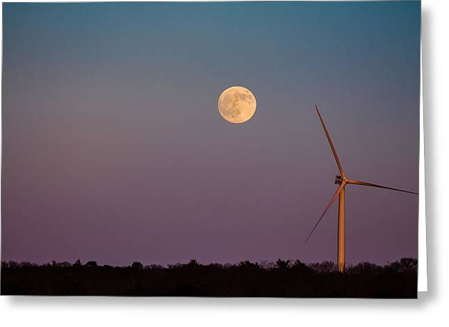 Moon Over Wind Generator Greeting Card