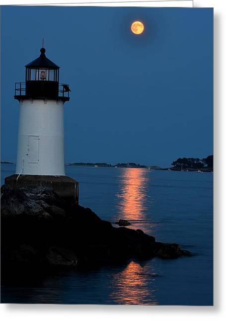 Moon Over Winter Island Salem Ma Greeting Card