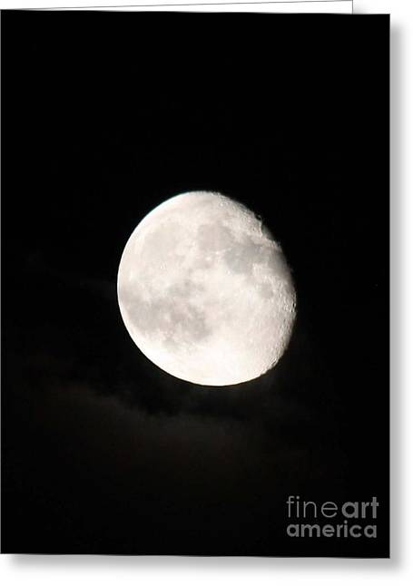 Moon Photographed In Black And White Greeting Card by John Telfer