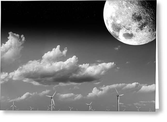 Moon Power Greeting Card by Semmick Photo